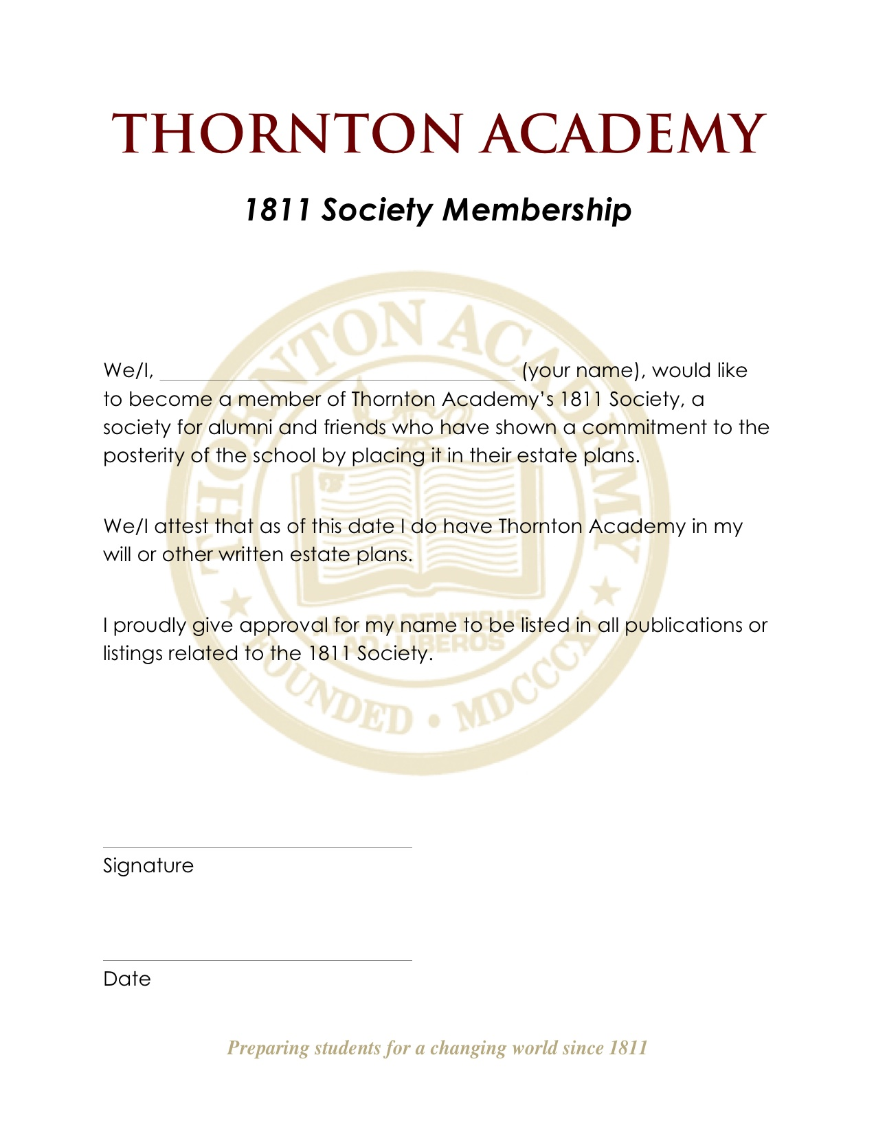 To become a member, fill out this form and return to the Development Office at TA.